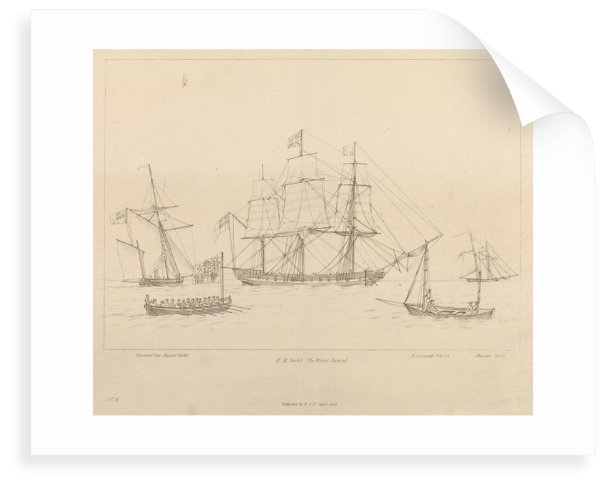 HM Yacht The Prince Regent and her ship's boat by unknown