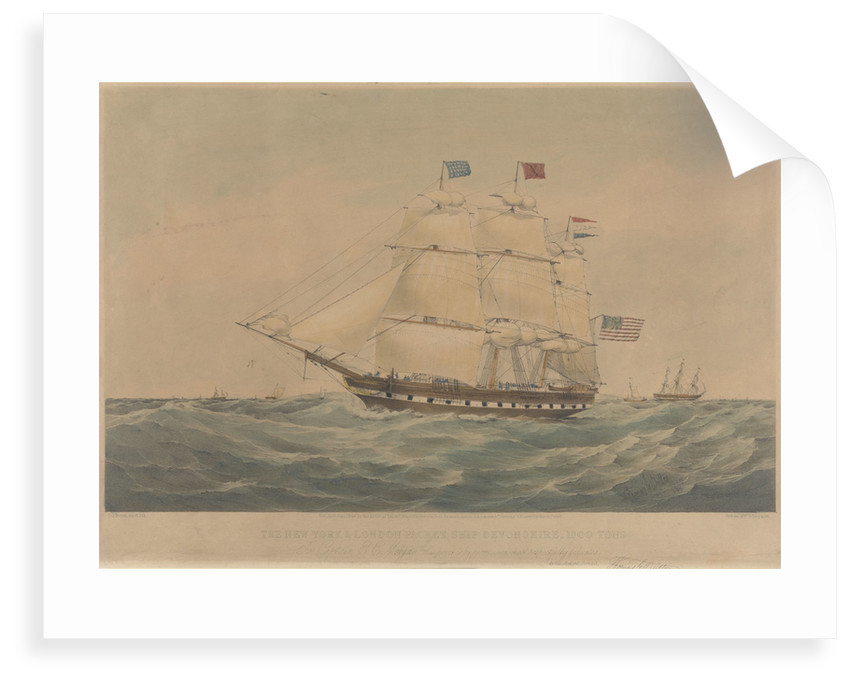 The New York and London Packet Ship 'Devonshire' 1300 Tons by Thomas Goldsworth Dutton