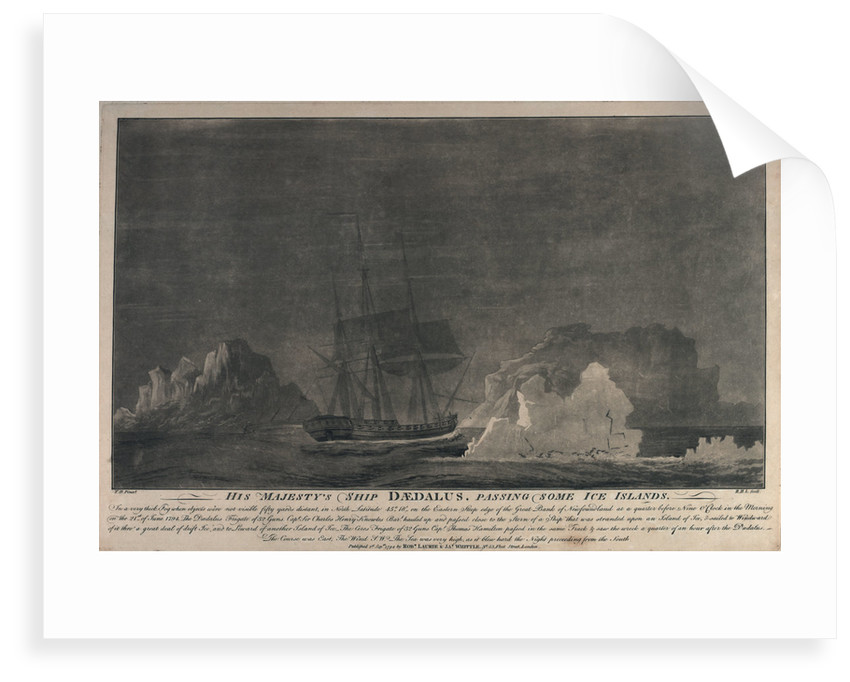 HMS 'Daedalus' passing some ice islands.... on the Eastern Steep edge of the Great Bank of Newfoundland by J. H.