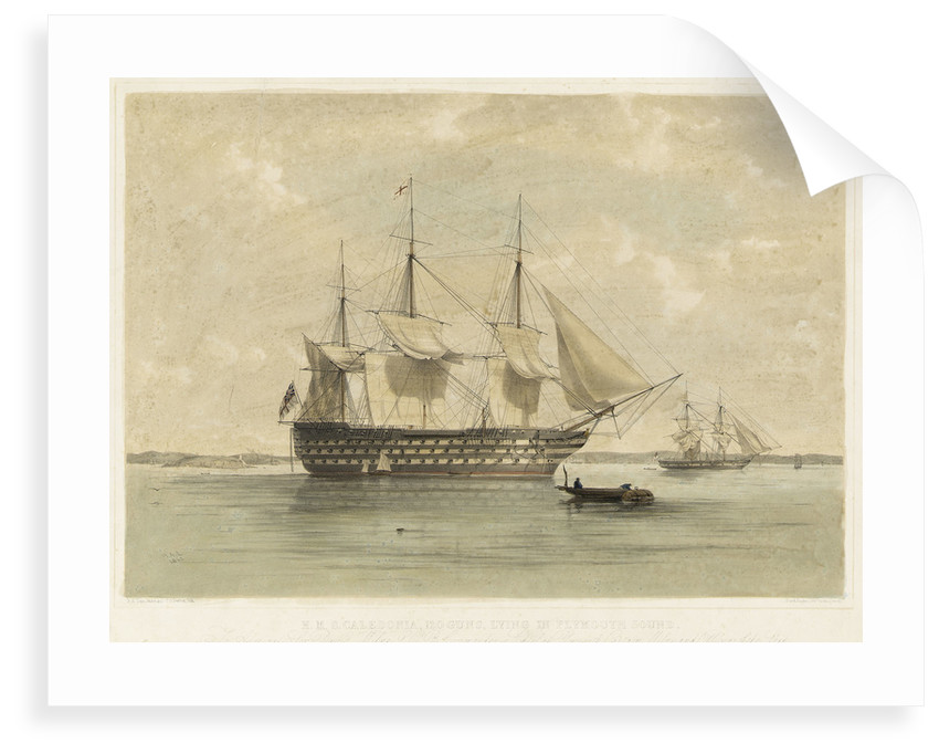 HMS 'Caledonia', 120 guns, lying in Plymouth Sound by Henry Andrews Luscombe
