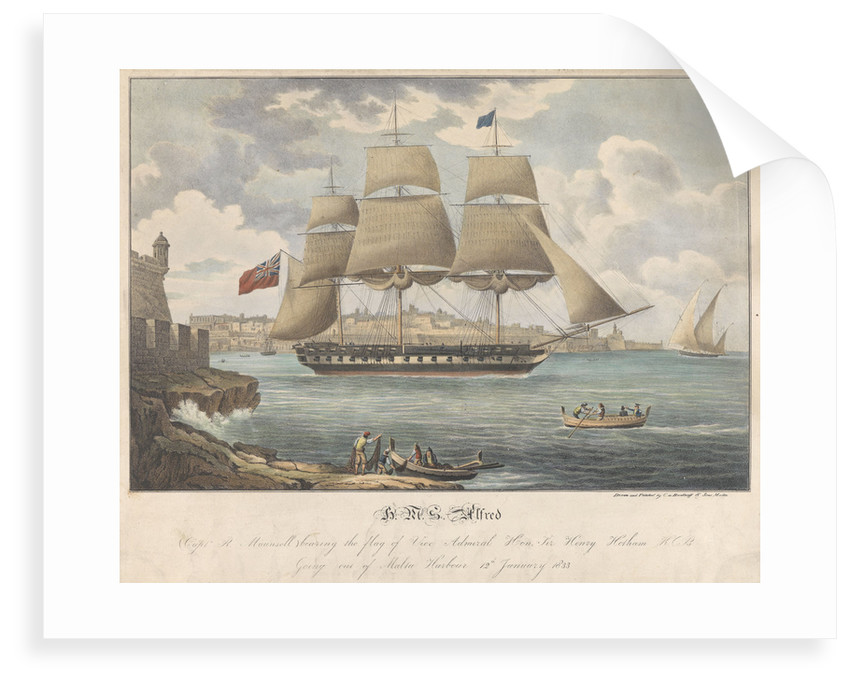 HMS 'Alfred' going out of Malta Harbour, 12 January 1833 by C. de Brocktorff