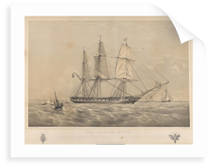 HMS 'Leander' (1848), 50-gun vessel, appointed to convey the Royal Commissioners to the Exhibition at New York by Ackermann