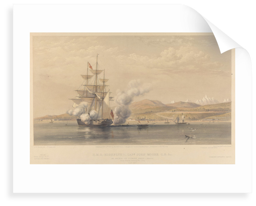 H.M.S. 'Highflyer' Captn John Moore C.B. &c. at anchor off Soukoum Kaleh-Abasia, Omar Pasha leaving the Ship, October 1855 by Oswald Walters Brierly (artist); Thomas Picken (engraver); Day & Son (printers); Paul & Dominic P & D Colnaghi & Co (publishers); Goupil & Co (publishers)