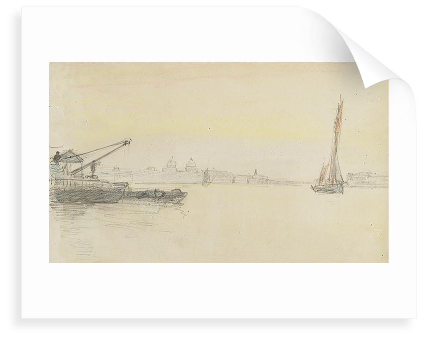 Sketch of various sailing vessels on the Thames at Greenwich by John Everett