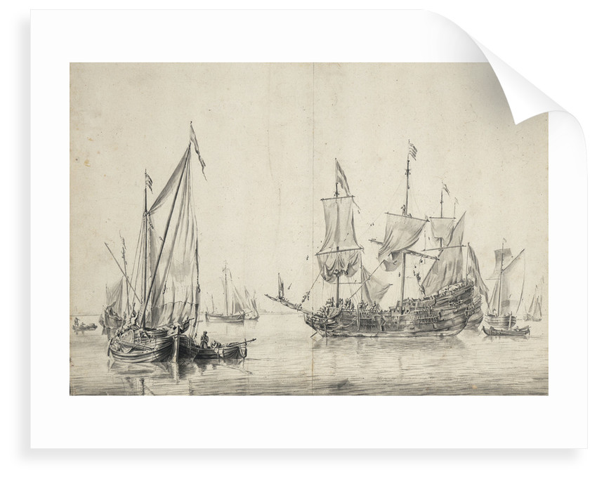 A kaag with a Dutch frigate drying sails by Willem van de Velde the Elder