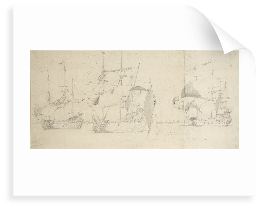 A flute, a Dutch merchantman and a frigate taking in sail in a light breeze by Willem van de Velde the Elder