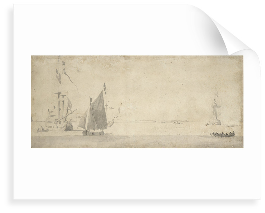 Smalschip under sail and Dutch ships at anchor by Willem van de Velde the Elder