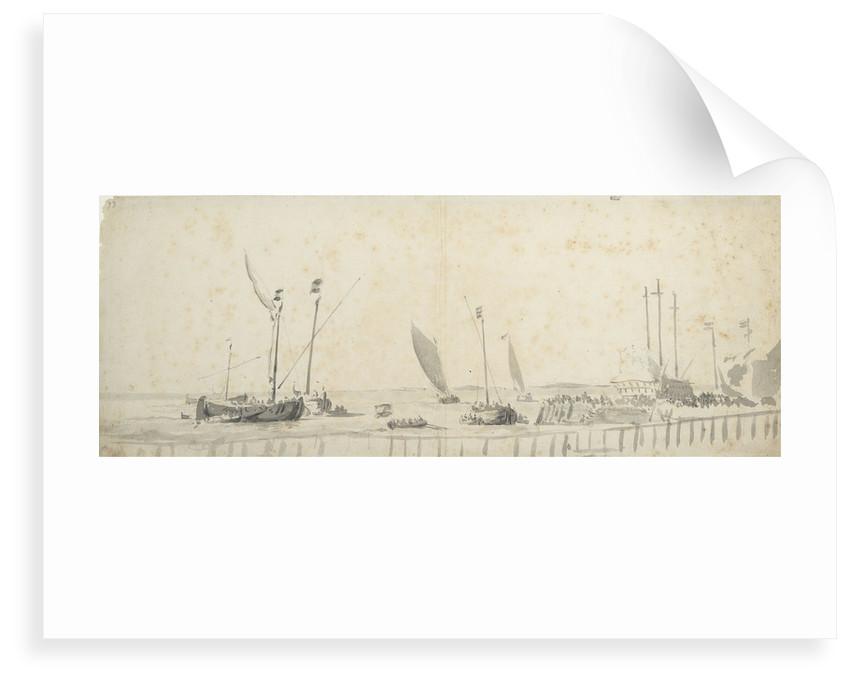 Smalschips near a wharf by Willem van de Velde the Elder