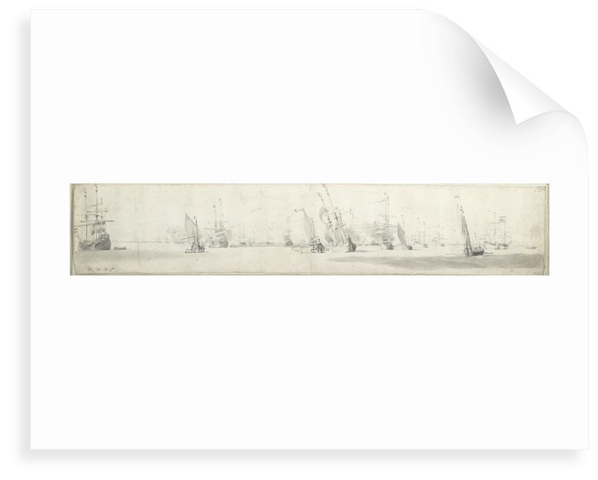 Dutch fleet at anchor, with states yachts under way by Willem Van de Velde the Younger