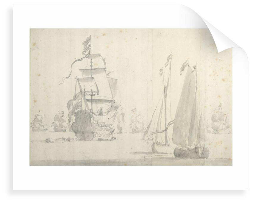 Dutch flagship with a smalschip and galjoot in a light breeze by Willem van de Velde the Elder
