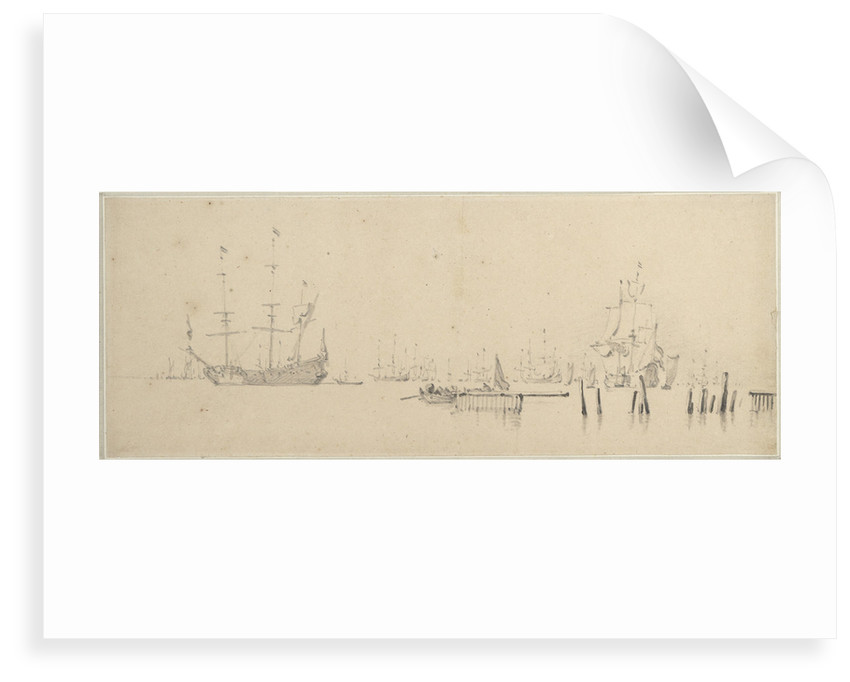 Dutch ships at anchor in harbour by Willem Van de Velde the Younger