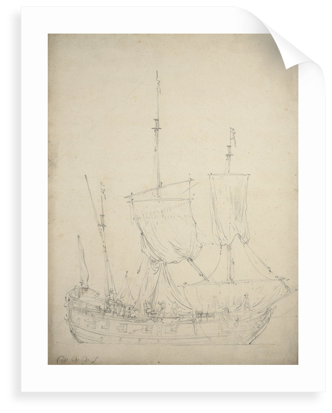 Portrait of a small Dutch frigate by Willem Van de Velde the Younger