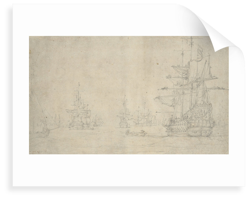 The 'Jupiter' and other ships at anchor, May 1672? by Willem van de Velde the Elder