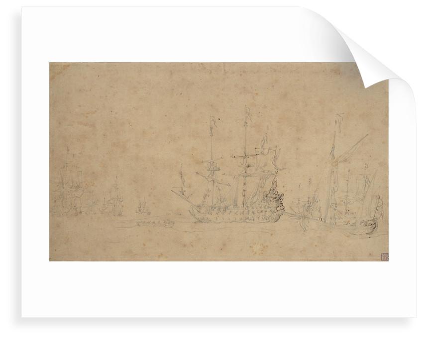 The Dutch fleet becalmed at anchor in a swell, May 1672? by Willem van de Velde the Elder