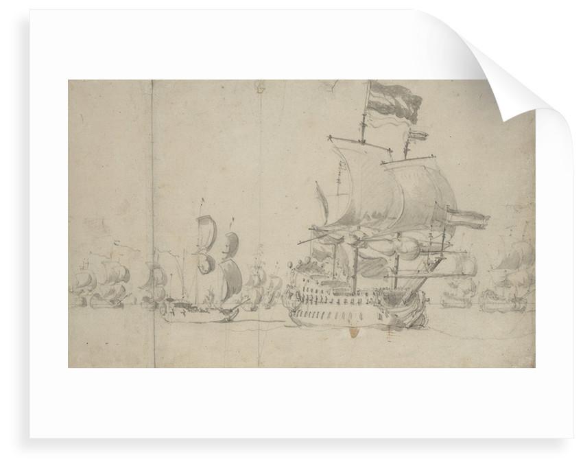 A Dutch flagship with a despatch vessel on her quarter, May 1672? by Willem van de Velde the Elder