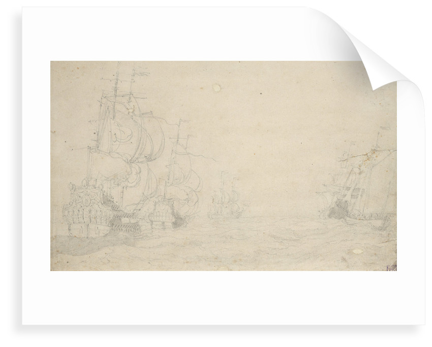 Dutch ships in a fresh breeze, May 1672? by Willem van de Velde the Elder