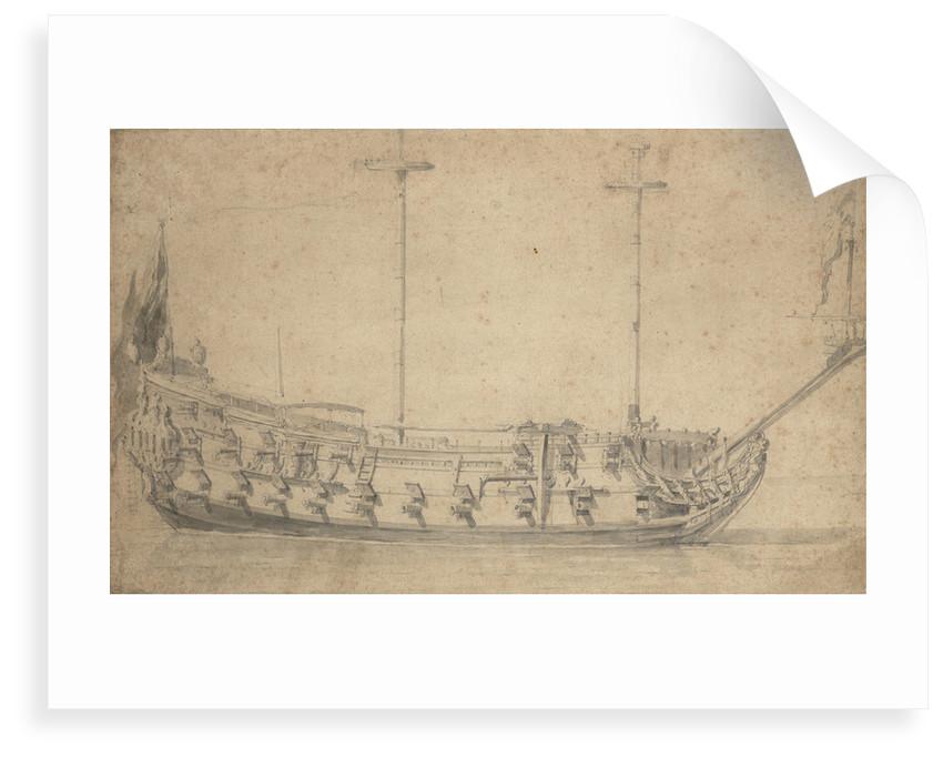 Portrait of an English fourth-rate, about 42 guns by Willem van de Velde the Elder