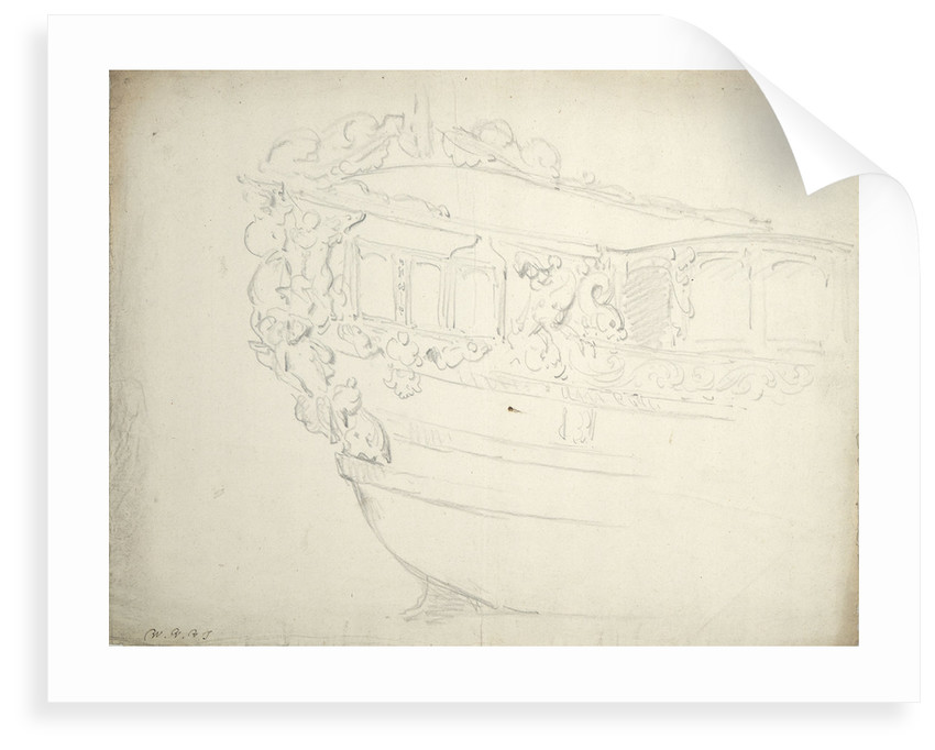The stern of a states yacht by Willem Van de Velde the Younger