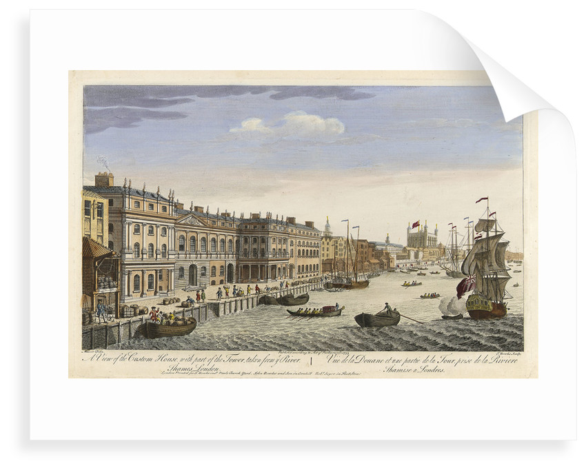 A view of the Custom House with part of the Tower, taken from the River Thames, London by Maurer