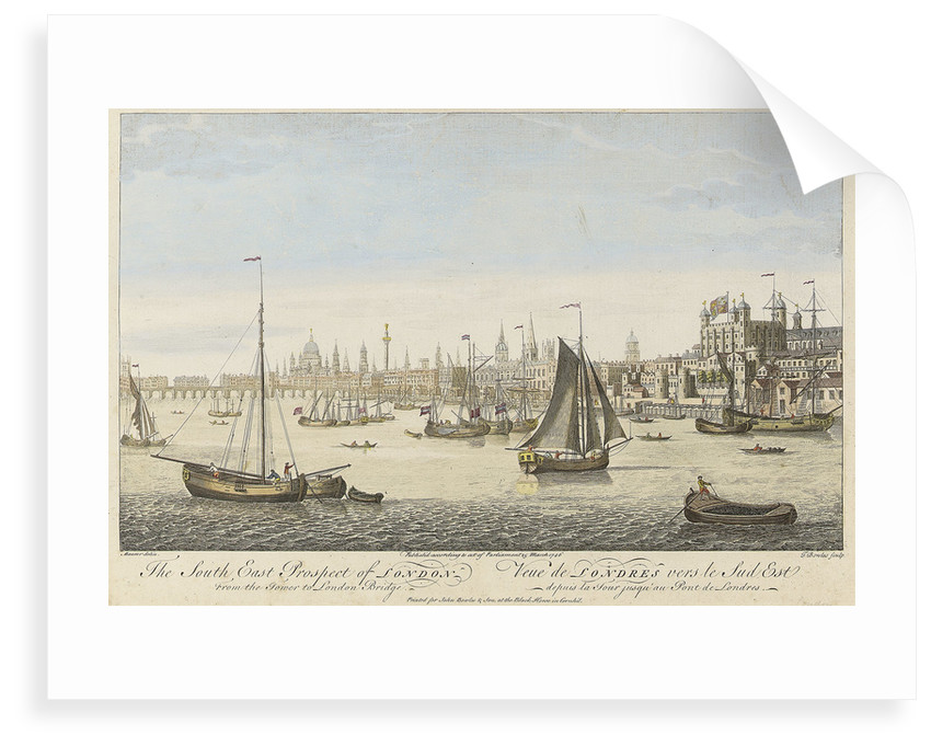 The South East Prospect of London From the Tower to London Bridge by Maurer
