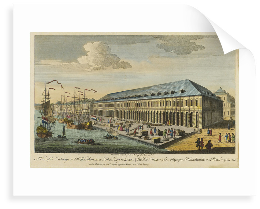 A view of the exchange and the warehouses at Petersburg in Russia by Robert Sayer