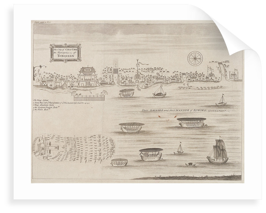 The city of Cha-Cho, the metropolis of Tonqueen. Their galleys and their manner of rowing by unknown