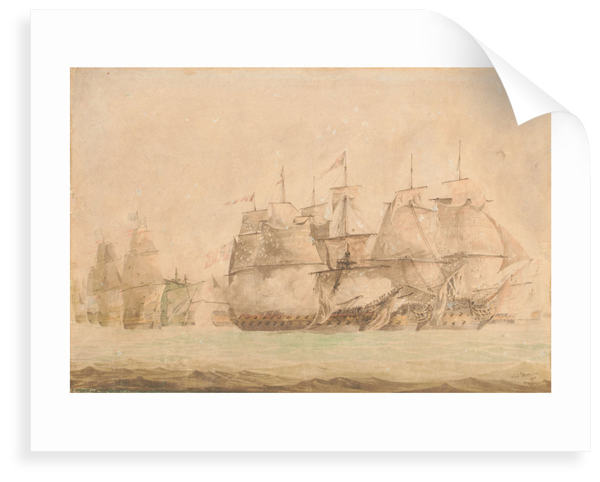 Battle of St. Vincent, Nelson in the 'Captain' boarding and capturing the two line of battle ships on the 14 February 1797 by Jahleel Brenton