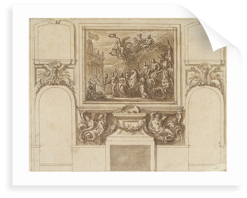 The Painted Hall, Greenwich Hospital: sketch for George I landing at Greenwich on the north wall, upper hall by James Thornhill