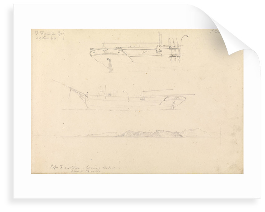 Sketches of profile and stern of a brigantine? and topographical sketch of Cape Finisterre...1843 by W. Maule
