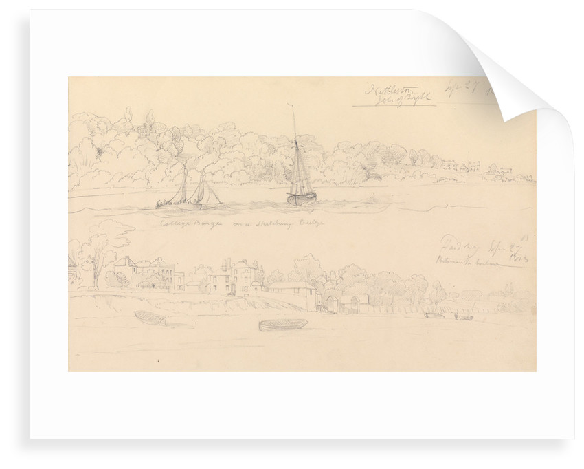 Drawing of barge 'College' on a sketching cruise Nettleston, Isle of Wight by John Christian Schetky