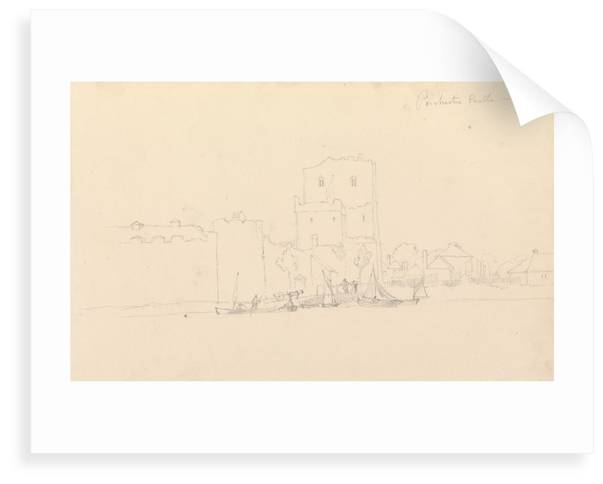 Drawing of Porchester Castle by John Christian Schetky