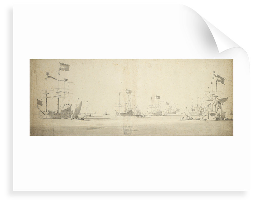 Dutch flagships at anchor with boats alongside by Willem van de Velde the Elder
