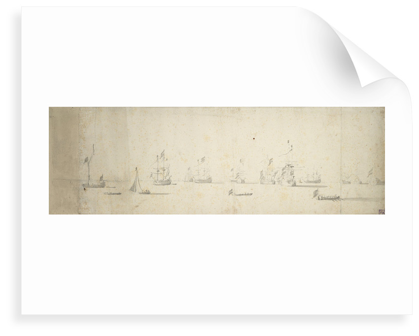 Dutch ships at anchor off the land by Willem van de Velde the Elder
