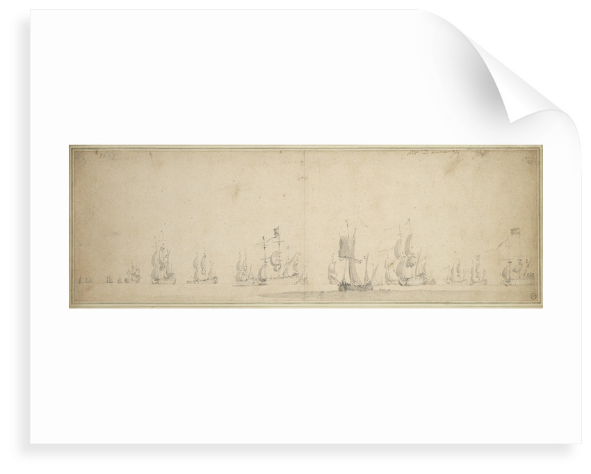 The Dutch fleet before the Battle of Lowestoft, May-June 1665 by Willem van de Velde the Elder