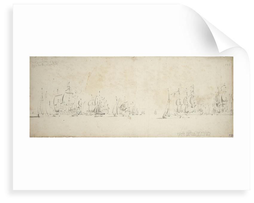 De Ruyter joining Tromp's fleet in the North Sea, 8-18 August 1665 by Willem van de Velde the Elder
