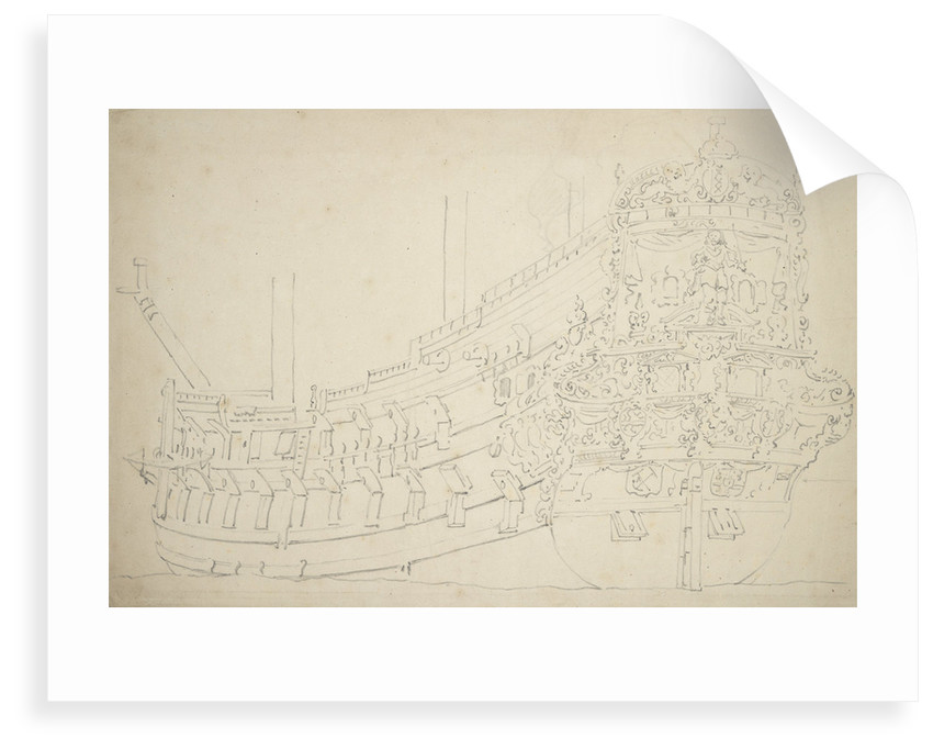 An Amsterdam ship, possibly an Indiaman, of about 50 guns by Willem van de Velde the Elder