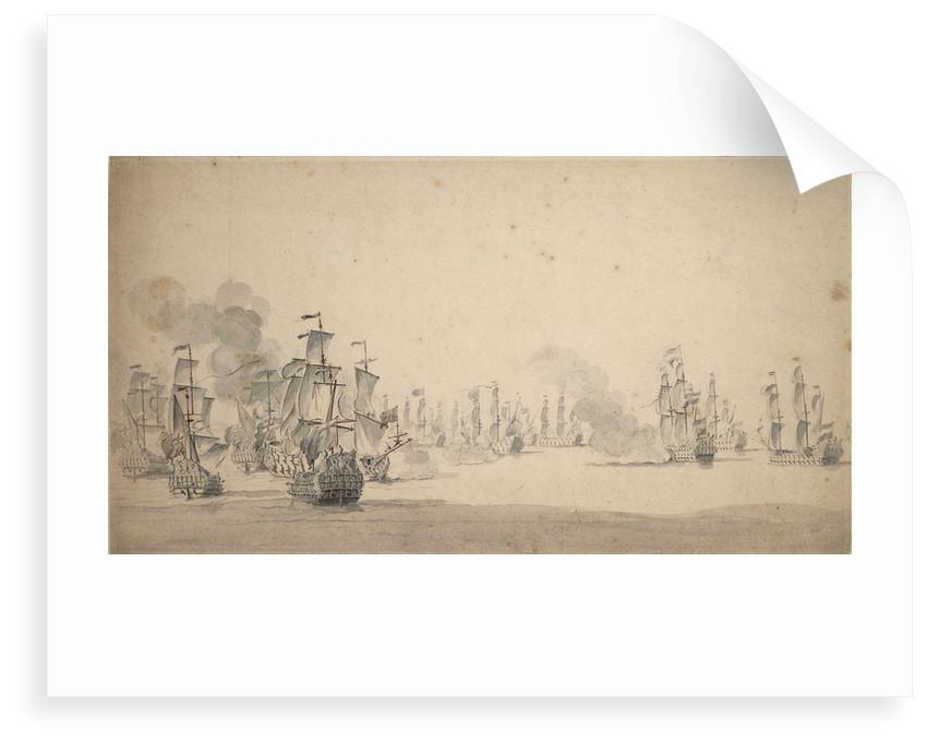 Beach and van Ghent's action, 1670: Van Ghent pursuing six Algerine corsairs near Cape Spartel, 17-27 August 1670 by Willem van de Velde the Elder