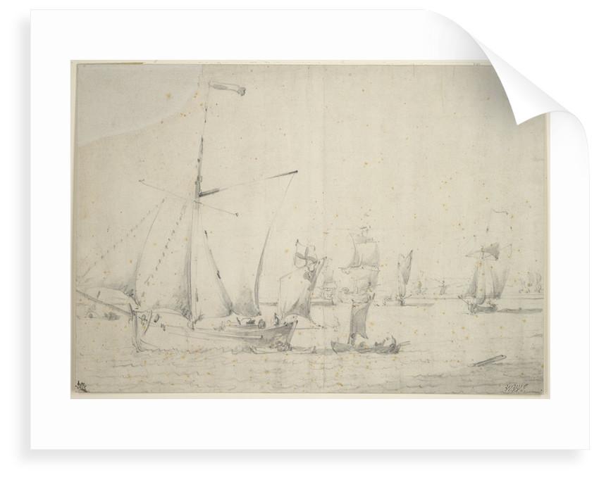An English galliot close-hauled in a light breeze by Willem van de Velde the Elder