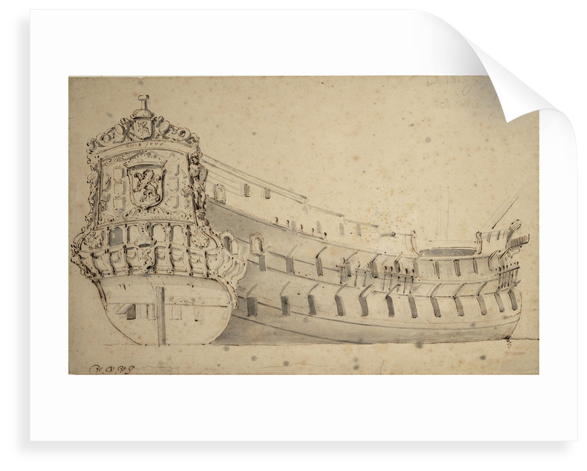Portrait of the 'Ridderschap', 66 guns, of the Admiralty of the Maas, built in 1666 and lost at sea in 1690 by Willem Van de Velde the Younger