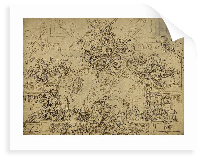 Design for the east end of the ceiling of the Painted Hall by James Thornhill