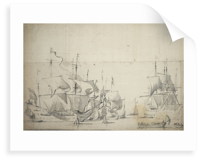 Dutch fighting ships drying sails by Willem van de Velde the Elder
