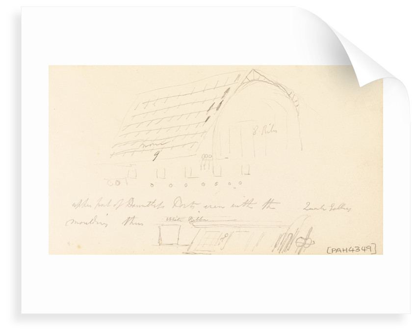 Sketch of the bow of HMS 'Collingwood' by Robert Strickland Thomas