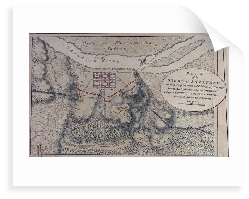 Plan of the siege of Savannah, 9 October 1779 by John Wilson