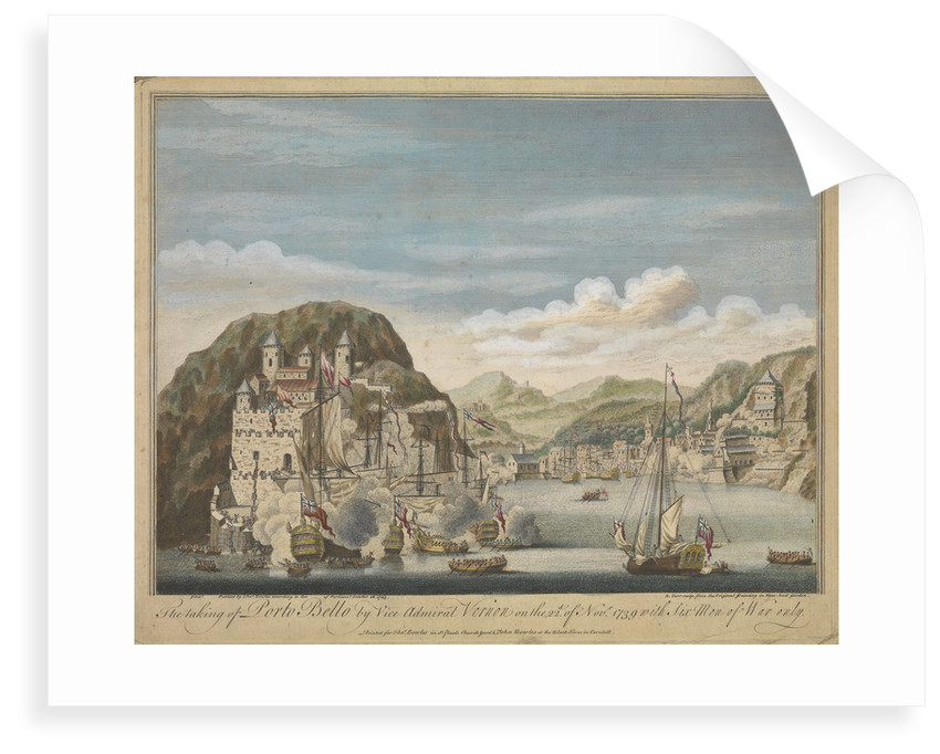 The taking of Porto Bello by Vice Admiral Vernon on the 22 November 1739 with six men-of-war only by Remigius Parr