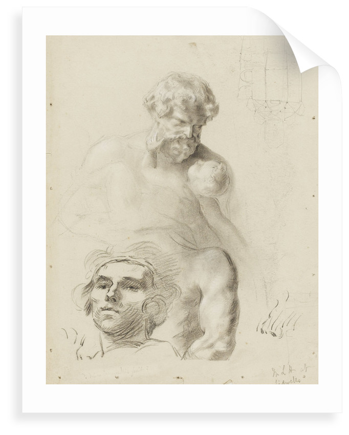 Sketch of a statue of a man and child (unfinished) and sketch of the head of a girl by unknown