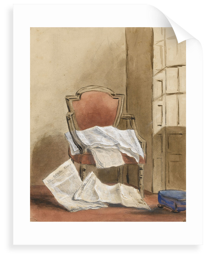 Study of an armchair with various newspapers by Margaret Louisa Herschel