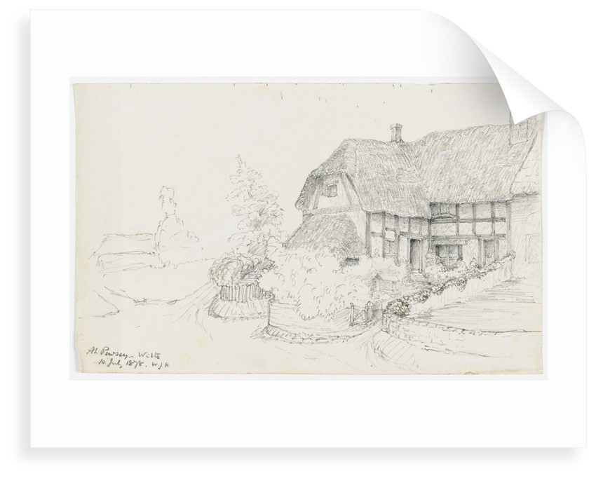 Sketch of a thatched house 'At Pewsey, Wilts, 10 July 1878' by William James Herschel