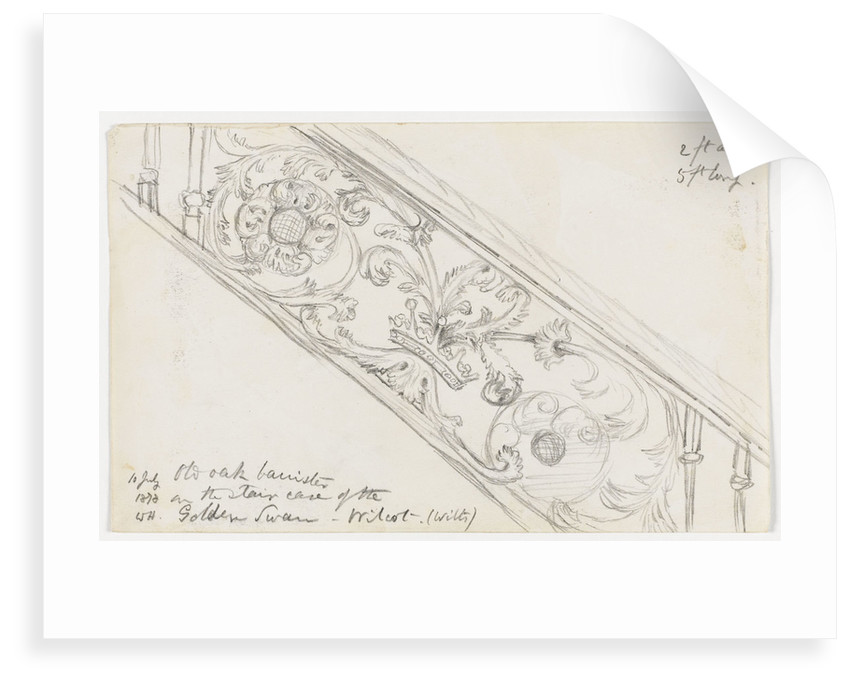 Old oak bannister on the staircase of the Golden Swan, Wilcot. (Wilts) 10 July 1878 by William James Herschel
