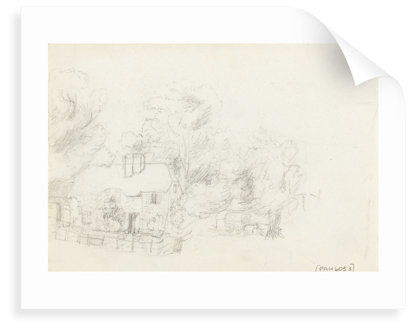 Country cottage sketched on reverse of 'The Farmyard. Litcombe Bowers - Aug 1878' by S.E. Hardcastle