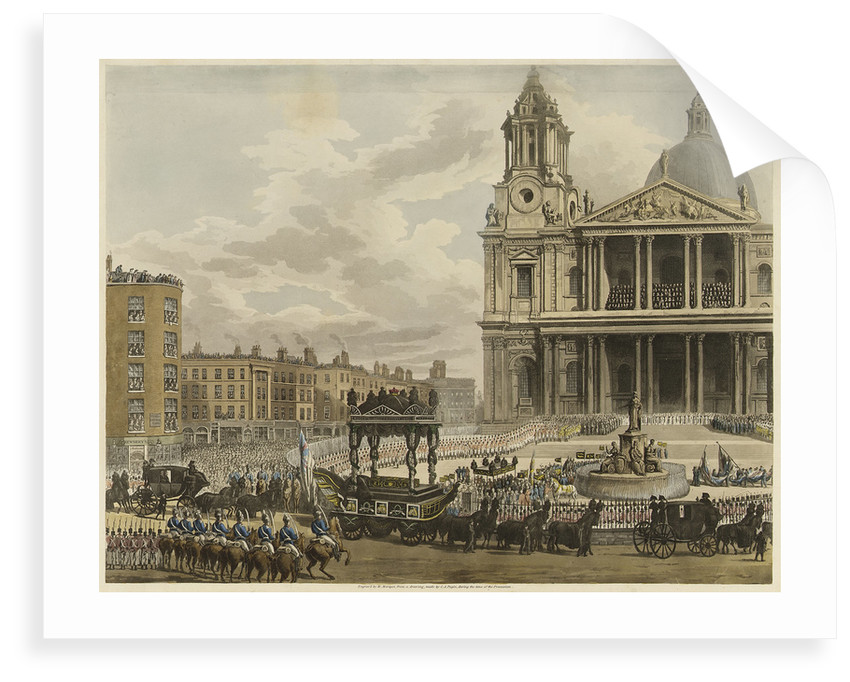 Funeral Procession of the late Lord Viscount Nelson, from the Admiralty to St Paul's, London, 9th January 1806 by Augustus Charles Pugin